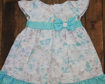 baby dress turqoise Rose lace 0-3 month size with headband