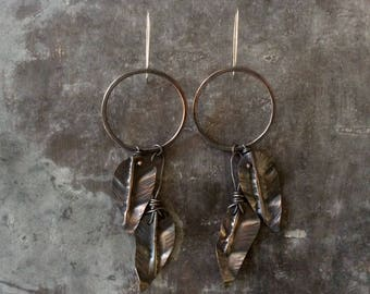 Fold formed feather earrings,rustic copper feather earrings,fold formed feather earrings,rustic fold formed feather earrings,rustic feathers