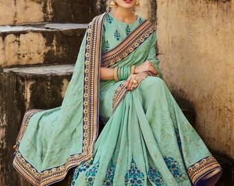 Indian Silk Sari - Mint Green - Sari Blouse - Sari Petticoat - Custom Size