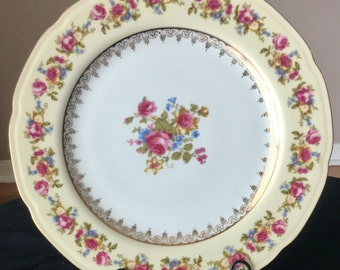 Gold Castle Dinner Plates, Vintage 1940's Dinner Plates, Floral Serving Plates,Set Of 8