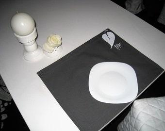 dark grey placemat, cotton placemat with white leaf, cotton napkin, hand painted placemat, plain placemat,38x45 cm