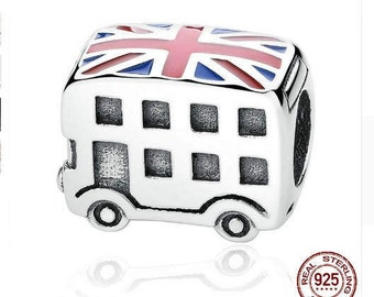 LONDON Double Decker Bus Charm, 100% Real 925 Sterling Silver, Fit Pandora Snake Chain Charm Bracelet, Authentic Luxury DIY Jewelry