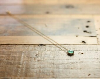Mint Glass Pendant Necklace/ Delicate gold filled necklaces