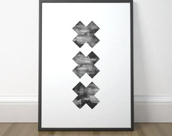 Modern Scandinavian Art, Swiss Cross, Printable Poster, Modern Watercolor Print, Scandinavian Art Print, Instant Download, Digital Print