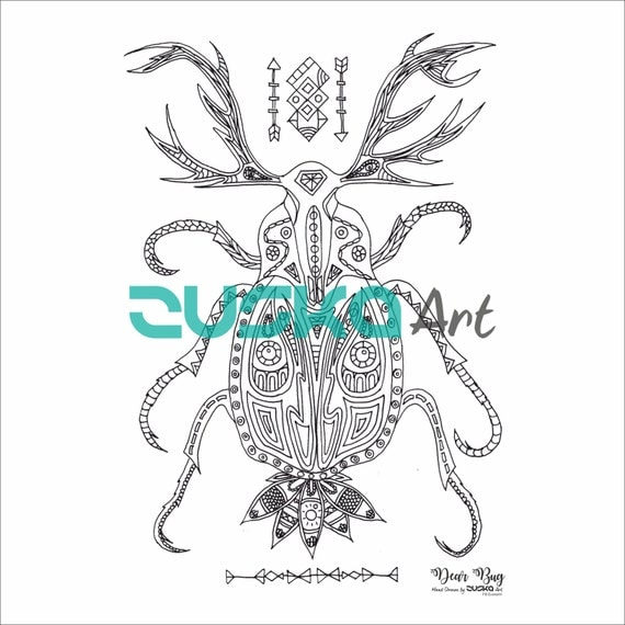 Dear Bug adult coloring page | Instant download | Adult coloring book | Printable | Boho coloring page | Hippie coloring page | Colouring
