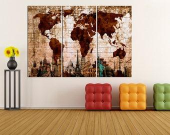 large world map canvas print wall art, Large wall Art, wonders of the World Map wall art, extra large wall art canvas No 6S25