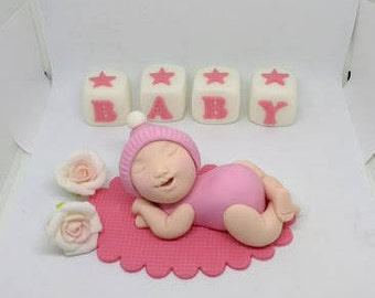 Baby girl edible cake topper set