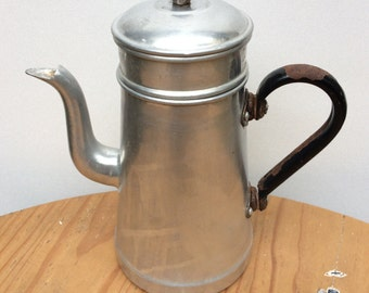 Vintage Aluminum Coffee Maker Black Handle