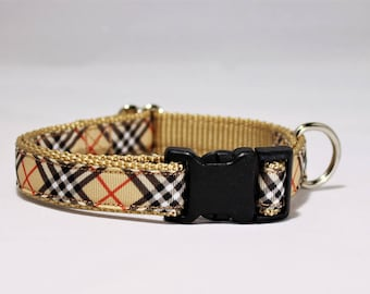 "3/4"" wide Tan ""Burberry style"" plaid adjustable dog collar"