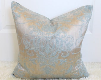 luxurious gold silver throw pillow light blue floral embroidery turkish velvet suede cushion blue