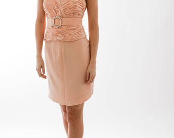 Vintage Peach Bandeau Dress
