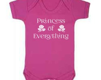 Pink and White Princess of Everything Babygrow, Baby Gift, Baby Girl, Baby Vest, Bodysuit, Onesie