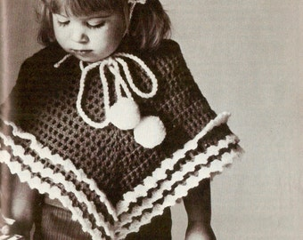Vintage Poncho and Cap Crochet Pattern