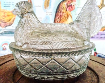 Candy, sugar, butter dish in shape of a chicken in her basket. Pressed glass. Circa 1930's. Vintage.