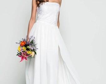 lace wedding dress/ beach wedding/ garden wedding/overskist wedding dress / 2 in 1 wedding dress