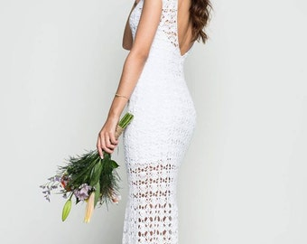 crochet wedding dress/ beach wedding dress/ boho open back wedding dress