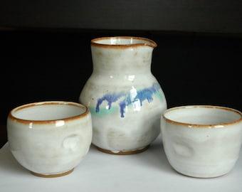 Ceramic Carafe and Cups // Sake Carafe // Half Carafe // Handmade Ceramic Pitcher