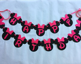 Minnie Birthday Party - Minnie Mouse Party Supplies - Pink and Black Minnie Mouse - Pink Minnie Banner - Minnie Mouse Birthday Banner