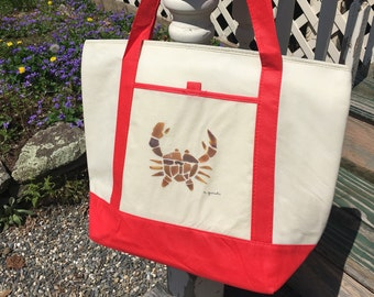 Beach Cooler Tote featuring Sea Glass crab
