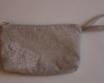 Linen Bridal Wristlet purse with beaded lace trim