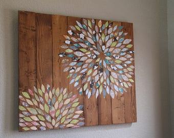 Reclaimed Wood Decoupage Flower Wall Art - Paper Flower on Reclaimed Wood