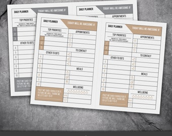 Printable PDF Daily Planner / To Do List / can also be used digitally / Instant Download / A4 & Letter sizes included