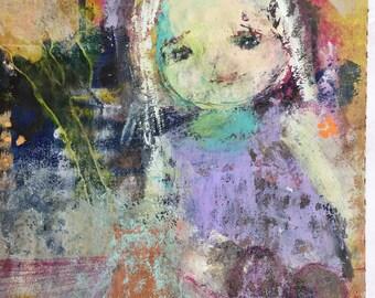 Girls Nursery Art -  Whimsy Child Painting - Little Girl Art - Gifts for Her - Art for Children - Home Decor Art