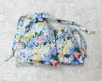 Kit 2 smallbags in fabric flowers - 2 sizes - cotton bags