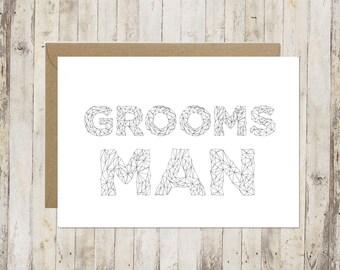 Groomsman card // Will you be my groomsman card // Thank you groomsman card // Wedding card // Card for groomsman //