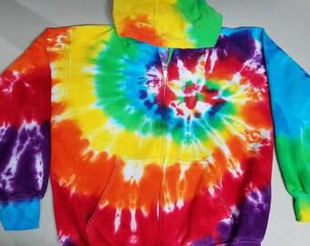 Tie Dye Zipper Hoody; Rainbow spiral