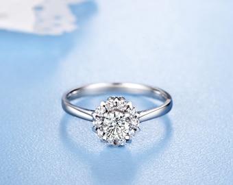 Moissanite Engagement Ring 14k White Gold Halo Round Forever Brilliant Moissanite Ring Modern Design Engagement Ring Diamond Ring