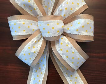 Yellow Polka Dot and Burlap Bow