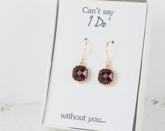 Garnet Gold Earrings, Gold Red Square Earrings, Garnet Wedding Jewelry, Bridesmaid Gift, Bridesmaid Earrings, Red Bridal Accessories