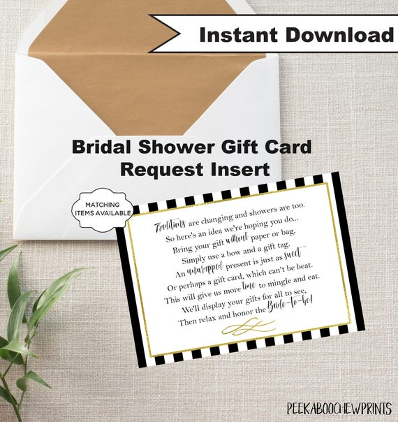 Wedding Gift Poem Cards: Display Shower / Gift Card Unwrapped Gift Request Poem Insert