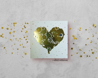 Sea Green Love Heart Card - Gold Foil Card - Love Card - All Occasions Card - Blank Card - Card for Girlfriend - Card for Boyfriend