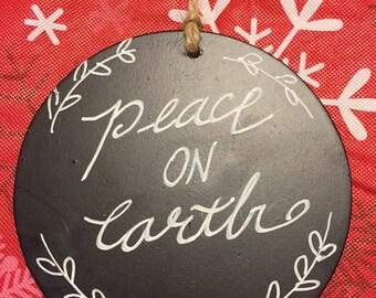 Peace on Earth Chalkboard Ornament