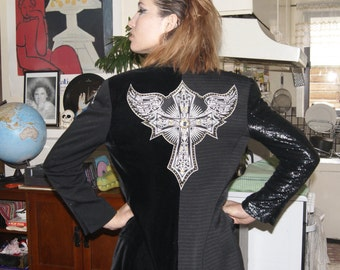 Vintage black occult witch crucifix glam rocker hand customised blazer jacket
