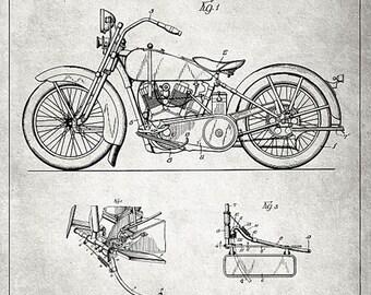 Harley Davidson - Harley Davidson Motorcycle Poster - Harley Davidson Blueprint - Harley Davidson Patent - Harley Wall Art (JS00313)