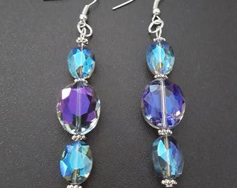 Smokey Blue & purple oval faceted glass beaded dangle earrings with silver detail