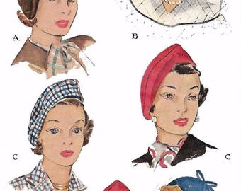 Vintage 1940's Sewing Pattern Ladies' Elegant Chic Cloche Hats Millinery Head 23