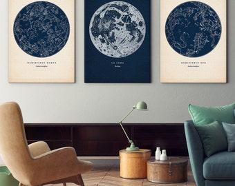 Star map set on canvas, Star map prints, Constellation maps, Star chart print, Constellations chart, Astronomy wall decor, Constellation art