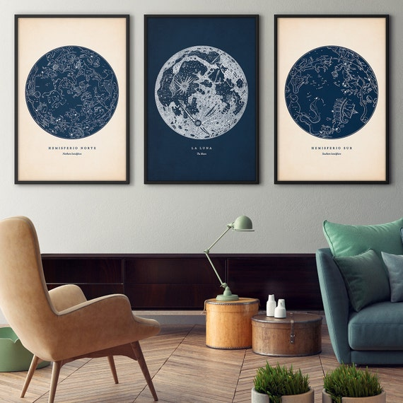 Astronomy Print Set Of 3 Star Map Print Star Chart By