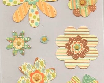 Retro Paper Flowers W/ Brads Forever In Time Scrapbook Embellishments Cardmaking Crafts