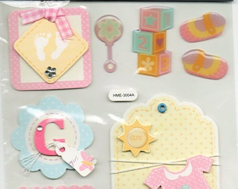 Baby Girl Tags Chipboard Stickers Forever In Time Scrapbook Embellishments Cardmaking Crafts