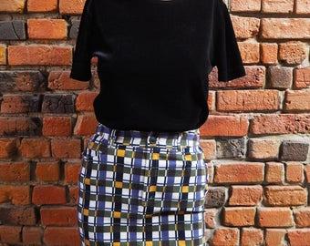 Women's 90s Esprit Purple Green White Black And Yellow Geometric Pattern Print Corduroy Mini Skirt Size US 4