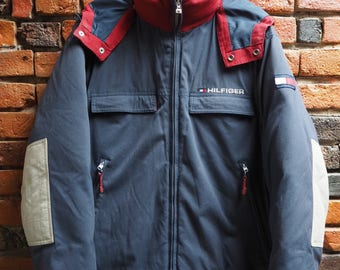 90s Tommy Hilfiger Navy Blue And Red Puffer Bomber Jacket Coat With Detachable Hood And Commercial Down Lining Size Medium
