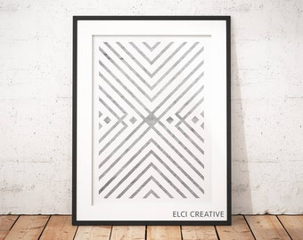 Geometric Tribal Pattern Wall Art, Digital Print, Poster, Wall Art Download, Minimalist Art, Instant Download, Black and White Print