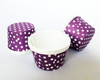 High Quality Pleated Purple & White Polkadot Baking Cups Cupcake Cases Muffin Cups