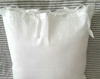 Set of two 16in. Vintage linen slipcovers with tie closure