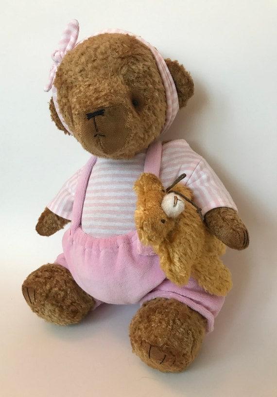 OOAK artist teddy bear TWIN GIRl, handmade item, collectors toy. Growler.